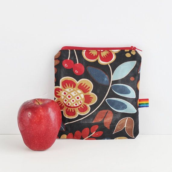 Reusable Snack Bag , Waxed Canvas Food Storage, Natural, Food Safe, Eco Friendly Waxed Fabric Snack Bag, Natural Alternative to plastic