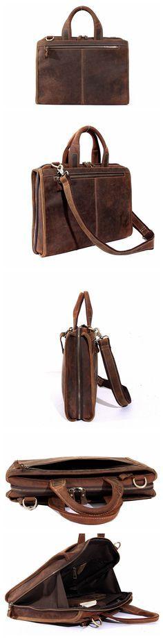 Vintage Leather Men's Briefcase Laptop Bag Messenger with Shoulder Strap Men's Business Bag Men's Fashion Bag