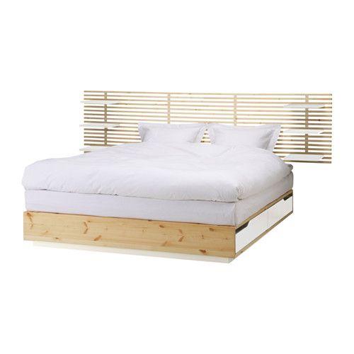 mandal structure lit avec t te de lit bouleau blanc bouleau blanc 140x202 cm chambre. Black Bedroom Furniture Sets. Home Design Ideas