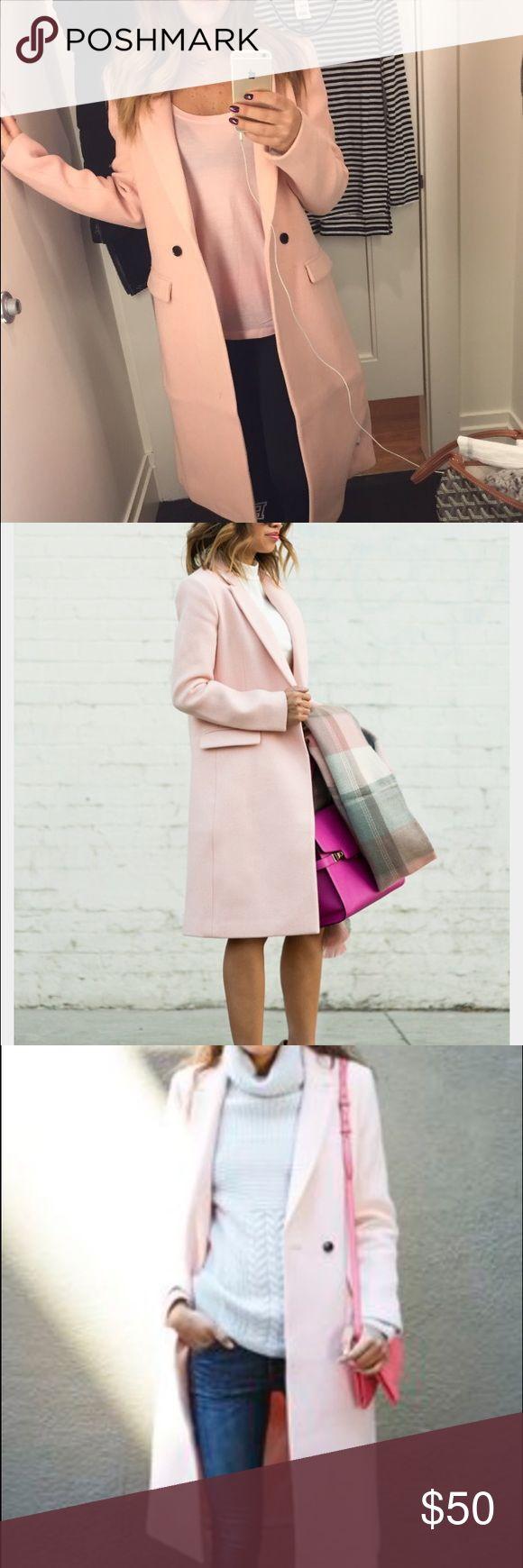 Banana Republic Pink Wool Coat Beautiful blush colored wool coat from Banana Republic winter 2016. Warm but not heavy, great piece for photos and layering. 2 pockets, back bent. Size XS. Banana Republic Jackets & Coats Pea Coats