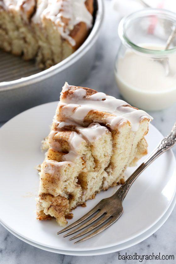 Giant Cinnamon Roll Cake with Vanilla Glaze