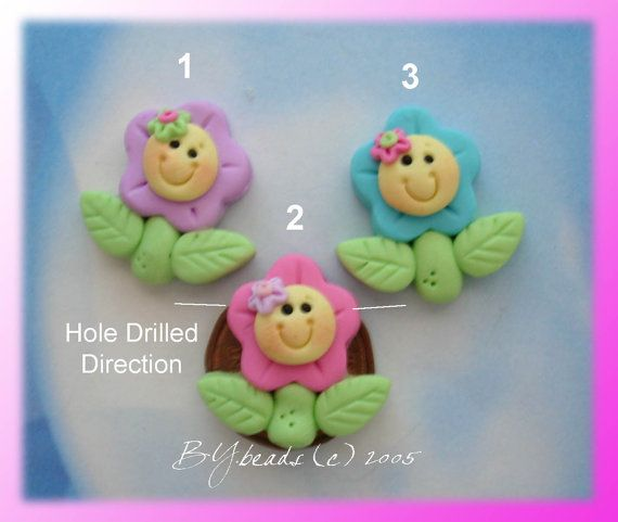 Happy Flower  Polymer Clay Charm Bead by rainbowdayhappy on Etsy, $1.50