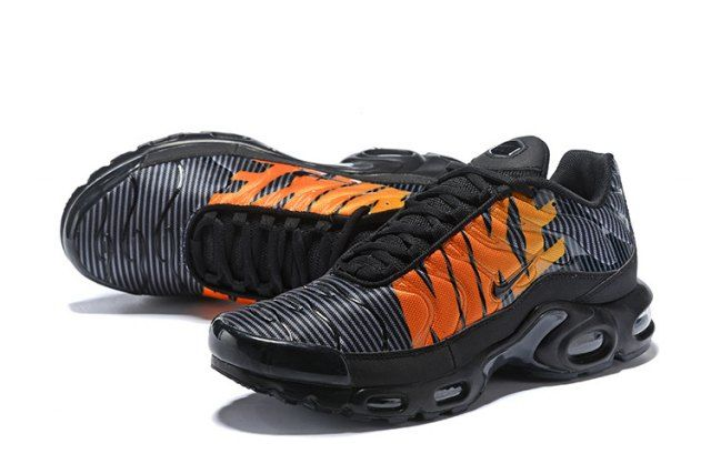 401cd4a364 Enthusiasm Nike Air Max Plus TN Striped Black Total Orange Anthracite Tour  Yellow AT0040 002 Sneakers Men's Running Shoes
