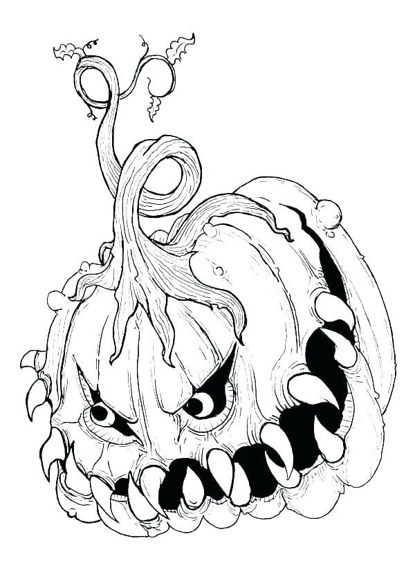 Scary Pumpkin Coloring Pagescary Pumpkin Coloring Page Halloween