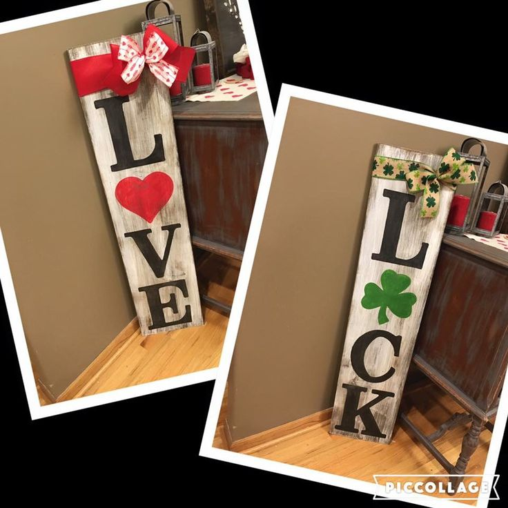 Großartig DIY Reversible Wood Signs For St. Patricku0027s And Valentineu0027s Day.
