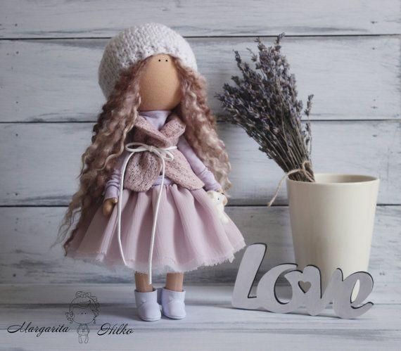 Fabric doll handmade white grey blonde Tilda by AnnKirillartPlace
