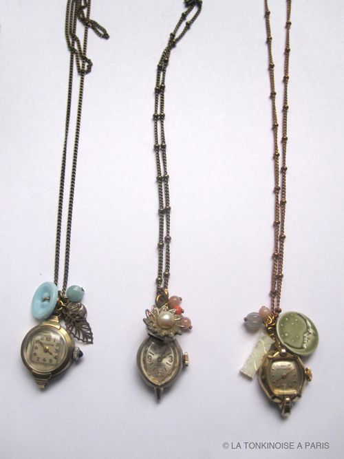 watch faces w/ beads, buttons and small charms necklaces