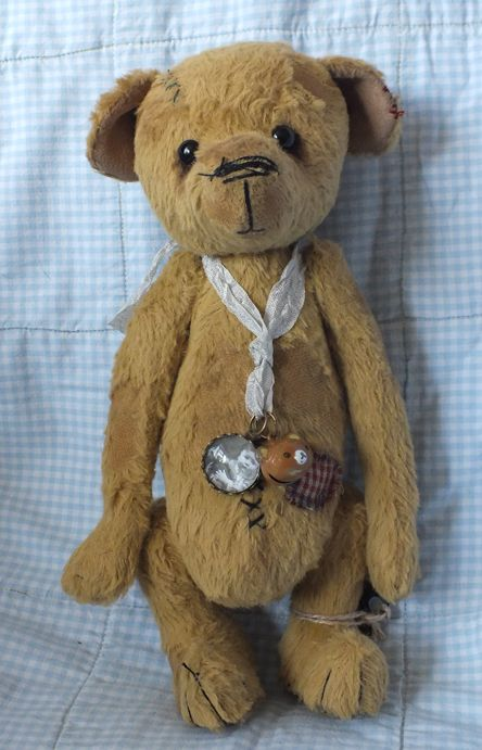 """""""Dusty"""" the old teddy, made from viscose. With bald patches and mending. By Ragtail n Tickle."""