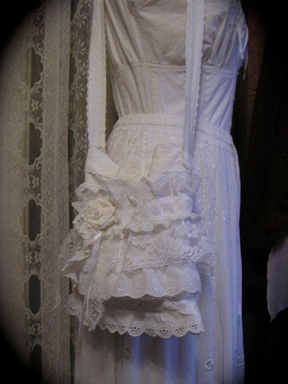 Shabby Lace Purse layered ruffled eyelet lace white Handmade by TatteredDelicates