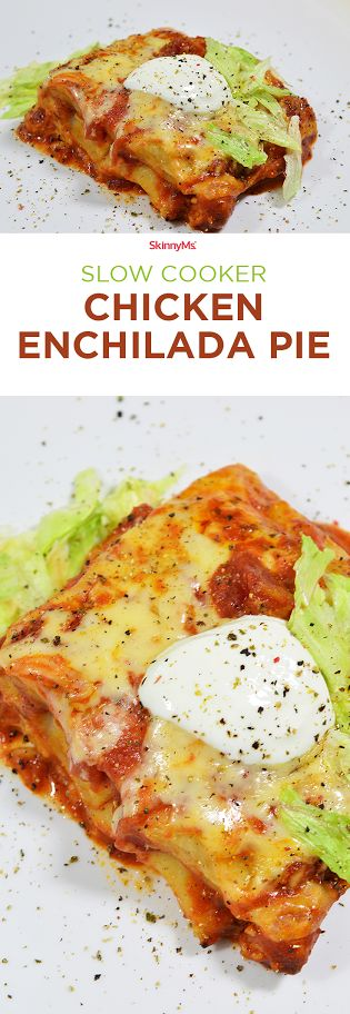 Slow Cooker Chicken Enchilada Pie - Perfect for dinner tonight!