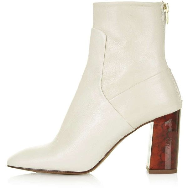 Cream Heeled Ankle Boots - Boot Hto