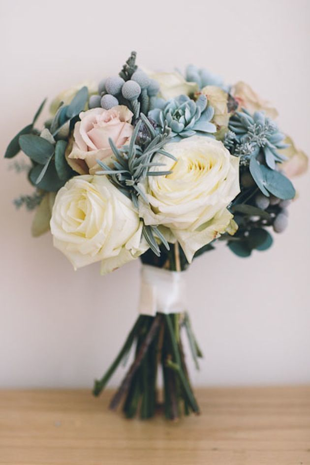 Large cream and dusty pink roses with diamonte detail, silver english lavender, dusty miller and eucalyptus // Bridal bouquet in creams and blues