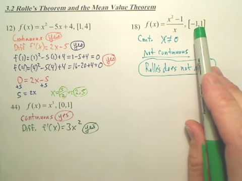 3.2b Rolles Theorem and the Mean Value Theorem - Calculus