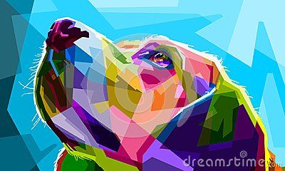Pet wildlife animal cartoon pop art drawing colorful collection wallpaper artwork vector geometric illustrations design background popart dog concept texture nature draw mosaic cubism