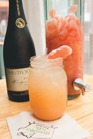 H.T. GREYHOUND: cocktail with grapefruit infused vodka, St. Germaine, and a sparkling wine float. Yes please!