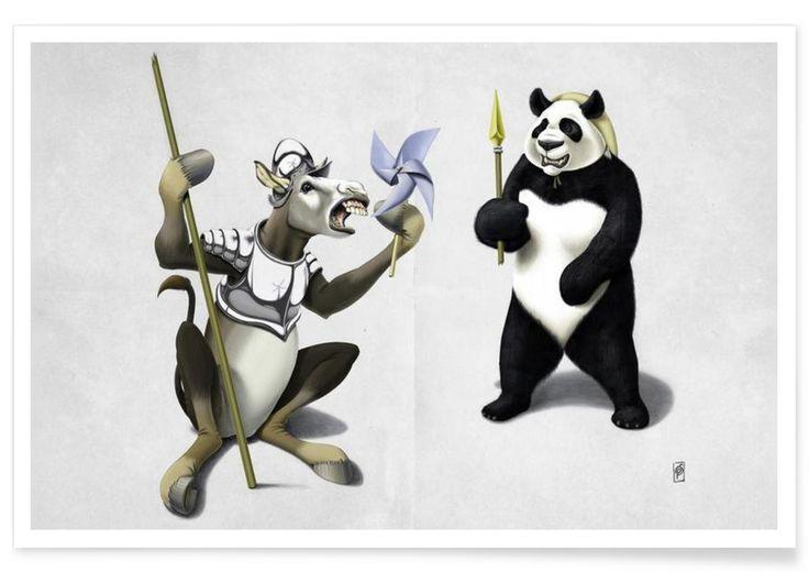 Donkey Xote and Sancho Panda - Rob Snow | Creative - Premium Poster art | decor | wall art | inspiration | animal | home decor | ideas | gift