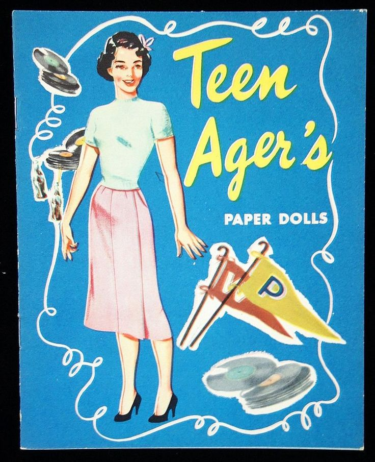 """1940s """"Teen Ager's"""" with Records Paper Dolls"""