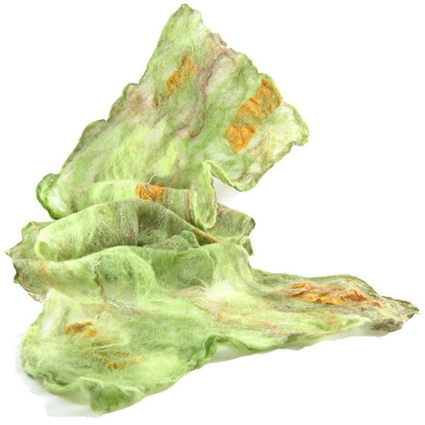 Cobweb Felted Scarf Gift for Her Wool Scarf Winter Scarf Fall Scarf... ($49) ❤ liked on Polyvore featuring accessories, scarves, light weight scarves, green scarves, lightweight scarves, green shawl and woolen shawl