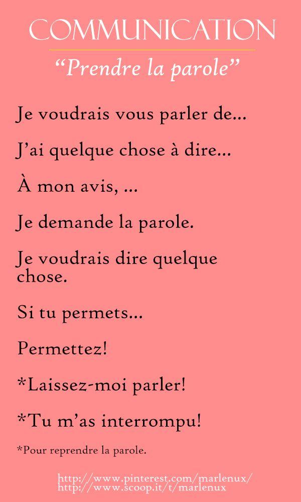 vocabulaire | communication |  prendre la parole.en français