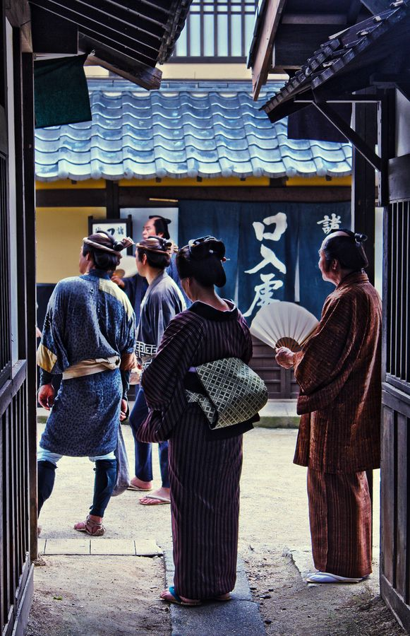 On the set of Japanese traditional TV drama, Kyoto, Japan