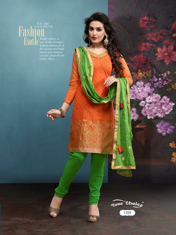 Chillax Chanderi Silk Orange Salwar Kameez Material