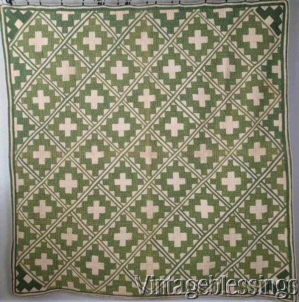 "Gorgeous CIVIL WAR era ANTIQUE Overdyed Green Chimney Sweep QUILT 80x80"" www.Vintageblessings.com"