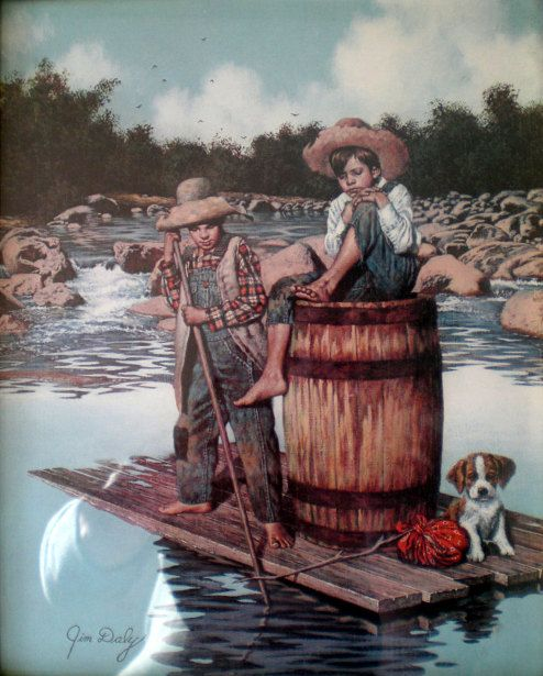 Here's to summer days, Parker and Jack and little friend! ♥ Tom Sawyer And Huckleberry Finn by Jim Daly