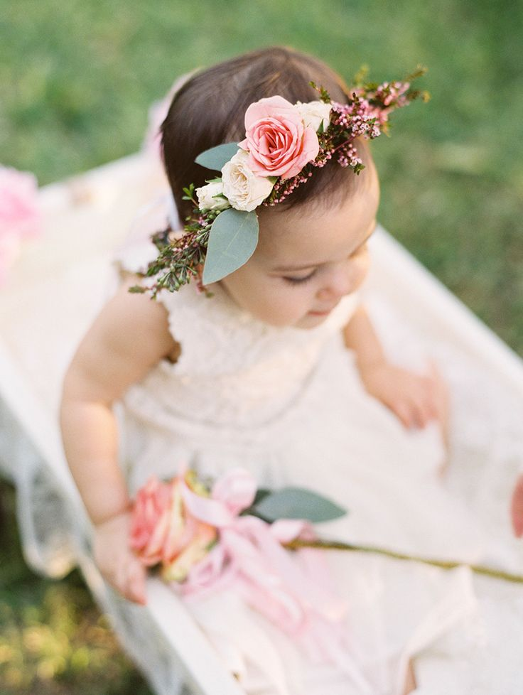 The sweetest baby girl flower crown: http://www.stylemepretty.com/2016/05/12/how-to-flower-crown-for-brides/