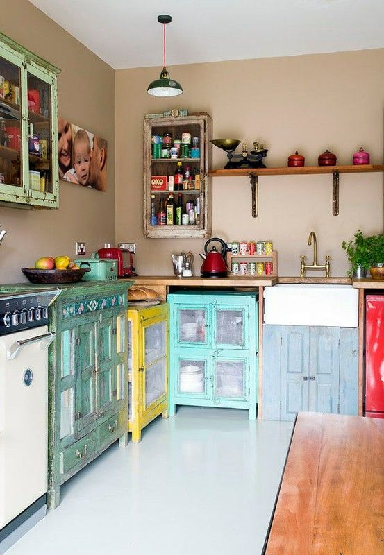 I really love how they have used all different kinds of cupboards to achieve kitchen counters