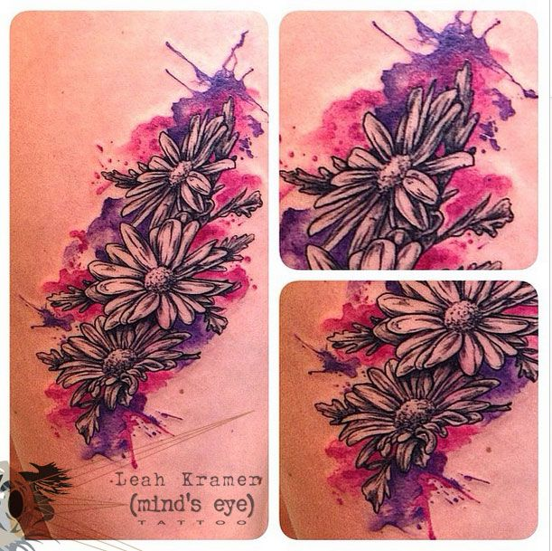 Watercolor daisy tattoo by Leah Kramer at Mind's Eye Tattoo in Emmaus, Pa…