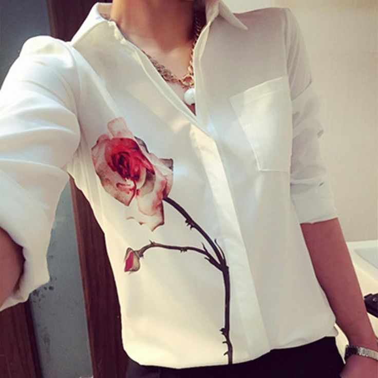 New Elegant Blusas Women 2016 Spring Autumn Tops Turn-down Collar Fashion Floral Print Office Shirt Blouse