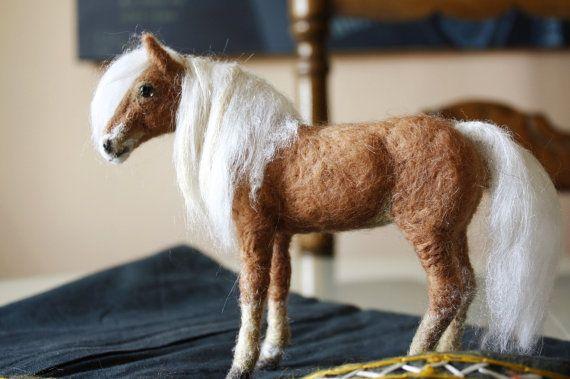 Needle felted horse by Minzoo, equine decor Haflinger horse sculpture, equestrian art