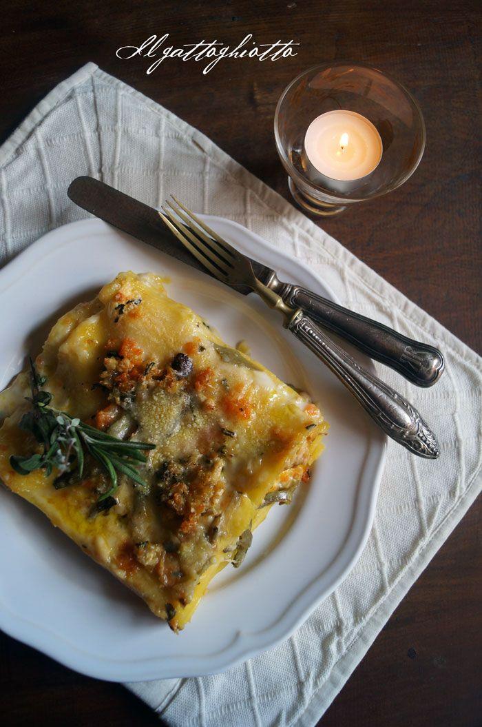 il gattoghiotto: Lasagne con ragù bianco di coniglio, carciofi ed erbe provenzali