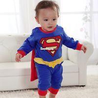 Superman Suit Fancy Dress SuperHero Costume for Baby Toddler Kid Boy Romper ES2P