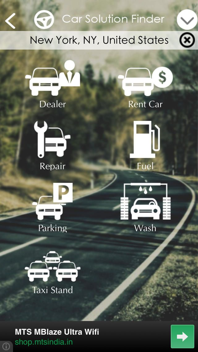 Car Solution Finder searches and navigates near by Fuel Stations, Parking Space, Work shop etc around your location.