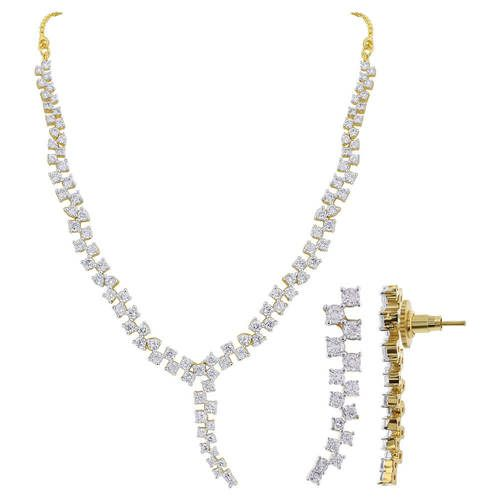 Gold Plated Clear Cubic Zirconia 17.5 inch Bollywood Indian Necklace Earrings Set #JS188