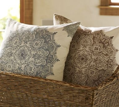 Blue Throw Pillows Pottery Barn : Medallion Block-Print Pillow Cover For the Home Pinterest Moroccan pattern, Pottery and ...
