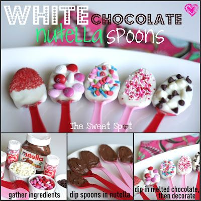 The Sweet Spot: White Chocolate Nutella Spoons: Chocolate Nutella, Holiday, Desserts, Nutella Spoons, Chocolates, Valentines, White Chocolate, Valentine S