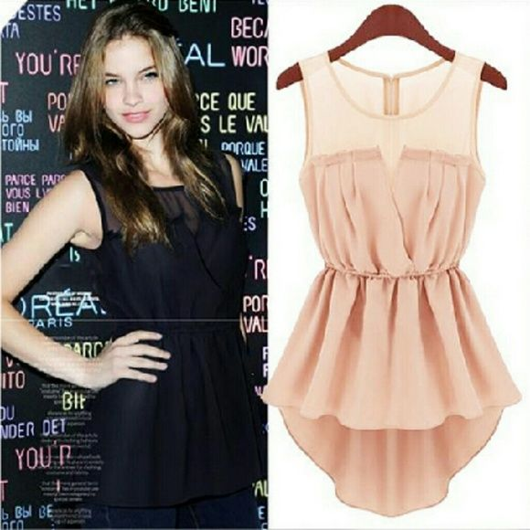 New! Pink chiffon top Brand new no tag chiffon top. Super cute with shorts or long pants. Last pic shown as tried on. Goes cute with belt. Belt not included. Perfect for spring pretty pastel color. Tops Tank Tops
