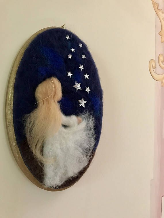 Needle felted Angel, Waldorf inspired, Wool Picture, Baby, Wall Decor, Angel White, Angel with stars, Stars