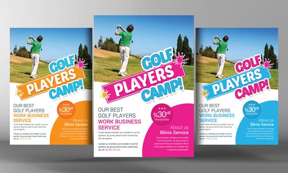 """Golf Club Flyer Template Specification CMYK Color Mode 300 DPI Resolution Size 210""""x297"""" 0.25"""" Bleed in Each Side Features 3 Colors Free Fonts Editable Text Layers/li Smart Object Layer For"""