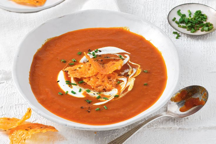 Tomato Soup With Cheese Crisps—A delicious comfort soup for those cold, winter days.