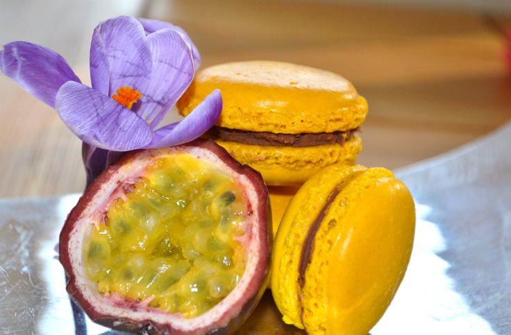 Milk chocolate and fresh passionfruit macarons inspired by Pierre Hemme's Mogador macarons.