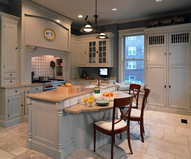 Kitchen Island You Can Eat At: Island At Standard Counter Height, Eating Section Dropped To Standard Table Height
