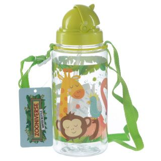 Zoo Animals Design 450ml Childrens Water Bottle.  Dimensions: Height 19cm Width 7cm Depth 7cm Strap 60cm  Delivery Prices available on Checkout