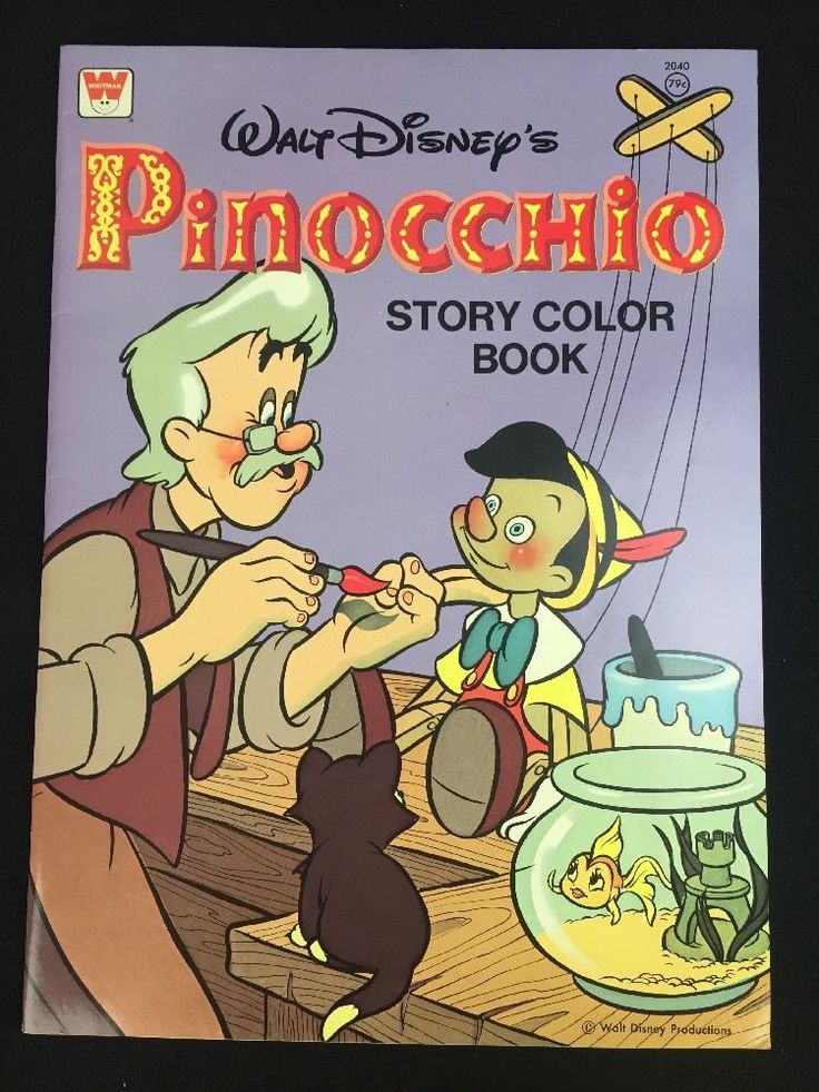 1977 Repro Of 1939 Pinocchio Walt Disney Production Story Coloring Book Whitman