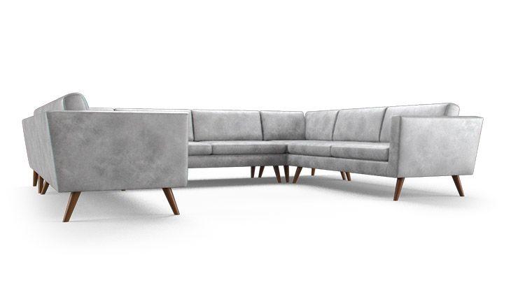 Deluna Leather U-Sofa Sectional