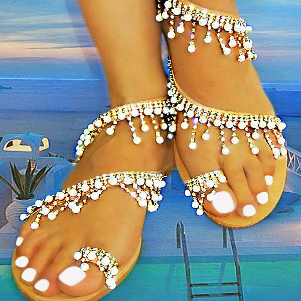 innovative greek sandals - Nefeli Pearls + Strass - flat sandal