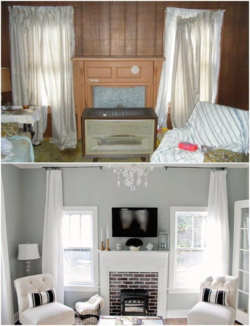 Elizabeth Burns Design | Family Farmhouse Fixer Upper - French Farm House Living Room before and afters; house flip, Sherwin Williams Magnetic Gray