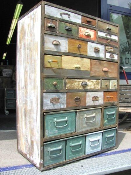 großer Schubladenschrank Industrielook Loft Metall Schrank Apothekerschrank